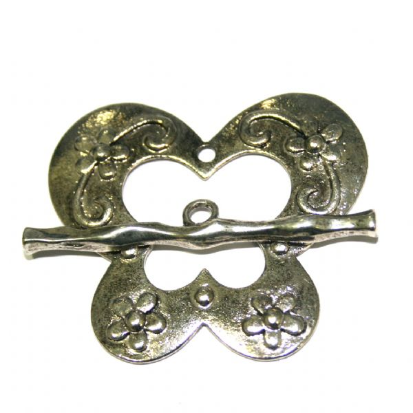 1 x Antique sliver butterfly toggle clasp 44x50mm - SF.04 - WC049 - 2502077